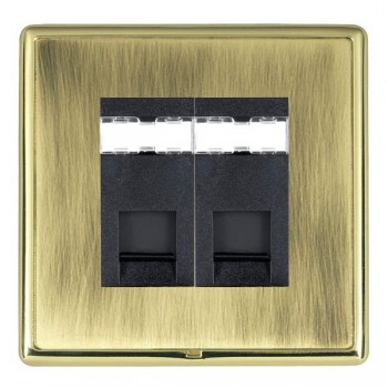 Hamilton Linea-Rondo CFX Polished Brass/Antique Brass 2 Gang RJ12 Outlet Unshielded with Black Insert