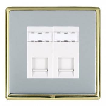 Hamilton Linea-Rondo CFX Polished Brass/Bright Steel 2 Gang RJ12 Outlet Unshielded with White Insert