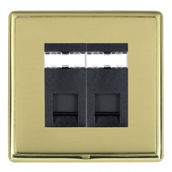 Hamilton Linea-Rondo CFX Polished Brass/Polished Brass 2 Gang RJ12 Outlet Unshielded with Black Insert