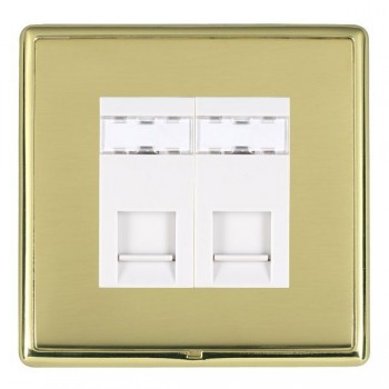 Hamilton Linea-Rondo CFX Polished Brass/Polished Brass 2 Gang RJ12 Outlet Unshielded with White Insert