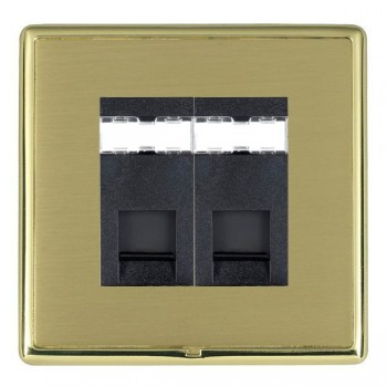 Hamilton Linea-Rondo CFX Polished Brass/Satin Brass 2 Gang RJ12 Outlet Unshielded with Black Insert