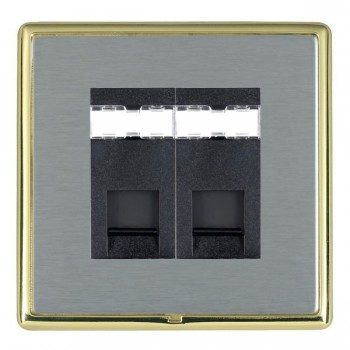 Hamilton Linea-Rondo CFX Polished Brass/Satin Steel 2 Gang RJ12 Outlet Unshielded with Black Insert