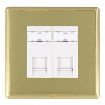 Hamilton Linea-Rondo CFX Satin Brass/Satin Brass 2 Gang RJ12 Outlet Unshielded with White Insert