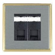Hamilton Linea-Rondo CFX Satin Brass/Satin Steel 2 Gang RJ12 Outlet Unshielded with Black Insert