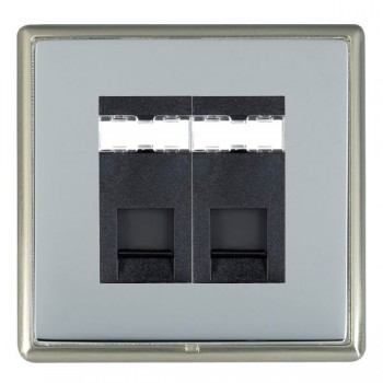 Hamilton Linea-Rondo CFX Satin Nickel/Bright Steel 2 Gang RJ12 Outlet Unshielded with Black Insert