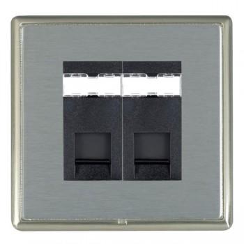 Hamilton Linea-Rondo CFX Satin Nickel/Satin Steel 2 Gang RJ12 Outlet Unshielded with Black Insert