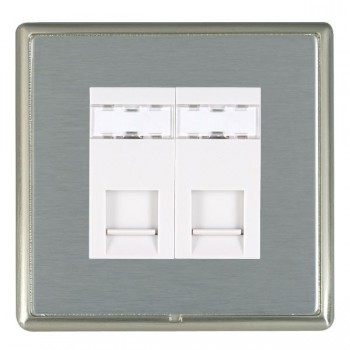 Hamilton Linea-Rondo CFX Satin Nickel/Satin Steel 2 Gang RJ12 Outlet Unshielded with White Insert