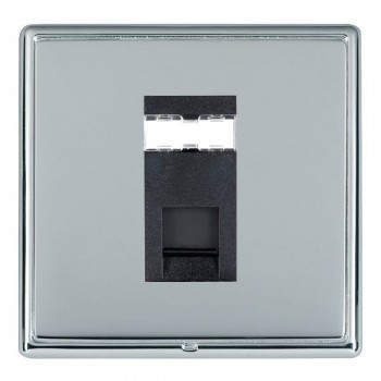 Hamilton Linea-Rondo CFX Bright Chrome/Bright Steel 1 Gang RJ12 Outlet Unshielded with Black Insert