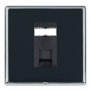 Hamilton Linea-Rondo CFX Bright Chrome/Piano Black 1 Gang RJ12 Outlet Unshielded with Black Insert