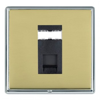 Hamilton Linea-Rondo CFX Bright Chrome/Polished Brass 1 Gang RJ12 Outlet Unshielded with Black Insert