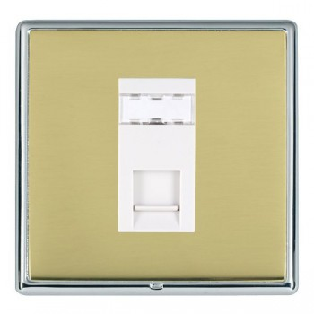 Hamilton Linea-Rondo CFX Bright Chrome/Polished Brass 1 Gang RJ12 Outlet Unshielded with White Insert