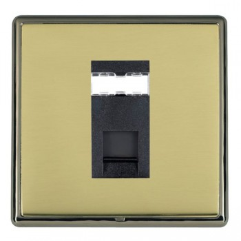 Hamilton Linea-Rondo CFX Black Nickel/Polished Brass 1 Gang RJ12 Outlet Unshielded with Black Insert