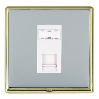 Hamilton Linea-Rondo CFX Polished Brass/Bright Steel 1 Gang RJ12 Outlet Unshielded with White Insert