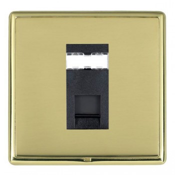 Hamilton Linea-Rondo CFX Polished Brass/Polished Brass 1 Gang RJ12 Outlet Unshielded with Black Insert