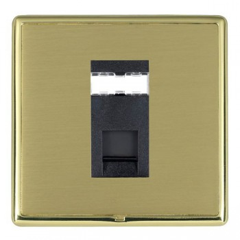 Hamilton Linea-Rondo CFX Polished Brass/Satin Brass 1 Gang RJ12 Outlet Unshielded with Black Insert