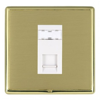 Hamilton Linea-Rondo CFX Polished Brass/Satin Brass 1 Gang RJ12 Outlet Unshielded with White Insert