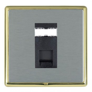Hamilton Linea-Rondo CFX Polished Brass/Satin Steel 1 Gang RJ12 Outlet Unshielded with Black Insert