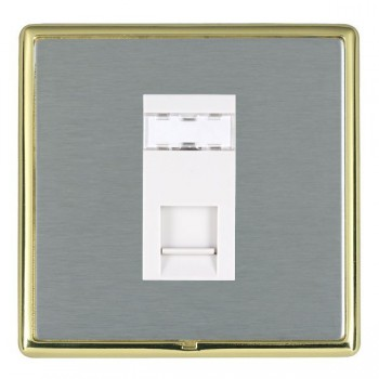 Hamilton Linea-Rondo CFX Polished Brass/Satin Steel 1 Gang RJ12 Outlet Unshielded with White Insert