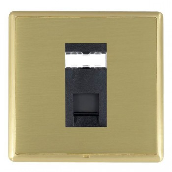 Hamilton Linea-Rondo CFX Satin Brass/Satin Brass 1 Gang RJ12 Outlet Unshielded with Black Insert