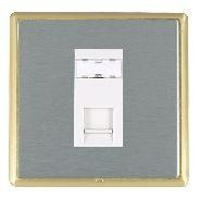 Hamilton Linea-Rondo CFX Satin Brass/Satin Steel 1 Gang RJ12 Outlet Unshielded with White Insert