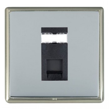 Hamilton Linea-Rondo CFX Satin Nickel/Bright Steel 1 Gang RJ12 Outlet Unshielded with Black Insert