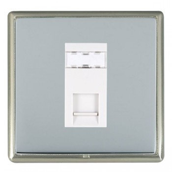 Hamilton Linea-Rondo CFX Satin Nickel/Bright Steel 1 Gang RJ12 Outlet Unshielded with White Insert