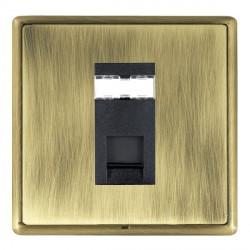 Hamilton Linea-Rondo CFX Antique Brass/Antique Brass 1 Gang RJ45 Outlet Cat 5e Unshielded with Black Insert