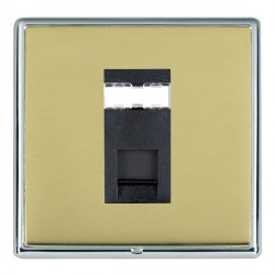 Hamilton Linea-Rondo CFX Bright Chrome/Polished Brass 1 Gang RJ45 Outlet Cat 5e Unshielded with Black Insert