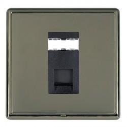 Hamilton Linea-Rondo CFX Black Nickel/Black Nickel 1 Gang RJ45 Outlet Cat 5e Unshielded with Black Insert