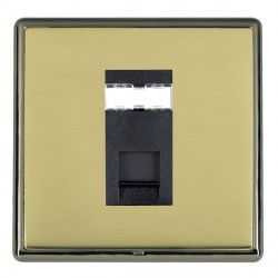 Hamilton Linea-Rondo CFX Black Nickel/Polished Brass 1 Gang RJ45 Outlet Cat 5e Unshielded with Black Insert