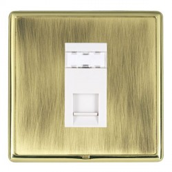 Hamilton Linea-Rondo CFX Polished Brass/Antique Brass 1 Gang RJ45 Outlet Cat 5e Unshielded with White Insert