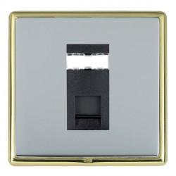 Hamilton Linea-Rondo CFX Polished Brass/Bright Steel 1 Gang RJ45 Outlet Cat 5e Unshielded with Black Insert