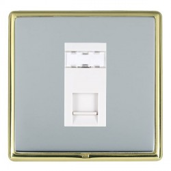 Hamilton Linea-Rondo CFX Polished Brass/Bright Steel 1 Gang RJ45 Outlet Cat 5e Unshielded with White Insert