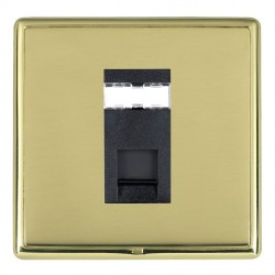 Hamilton Linea-Rondo CFX Polished Brass/Polished Brass 1 Gang RJ45 Outlet Cat 5e Unshielded with Black Insert