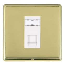 Hamilton Linea-Rondo CFX Polished Brass/Polished Brass 1 Gang RJ45 Outlet Cat 5e Unshielded with White Insert