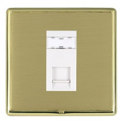 Hamilton Linea-Rondo CFX Polished Brass/Satin Brass 1 Gang RJ45 Outlet Cat 5e Unshielded with White Insert