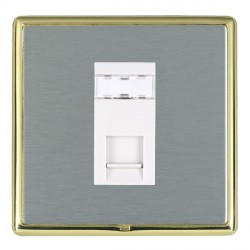 Hamilton Linea-Rondo CFX Polished Brass/Satin Steel 1 Gang RJ45 Outlet Cat 5e Unshielded with White Insert