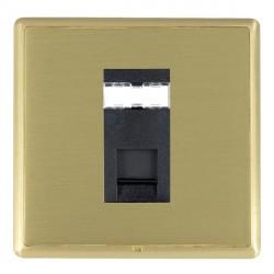 Hamilton Linea-Rondo CFX Satin Brass/Satin Brass 1 Gang RJ45 Outlet Cat 5e Unshielded with Black Insert
