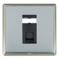Hamilton Linea-Rondo CFX Satin Nickel/Bright Steel 1 Gang RJ45 Outlet Cat 5e Unshielded with Black Insert