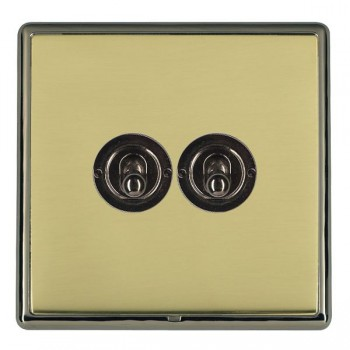 Hamilton Linea-Rondo CFX Black Nickel/Polished Brass 2 Gang 2 Way Dolly with Black Nickel Insert