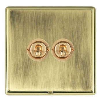 Hamilton Linea-Rondo CFX Polished Brass/Antique Brass 2 Gang 2 Way Dolly with Polished Brass Insert