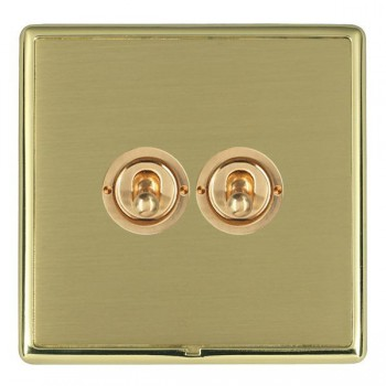 Hamilton Linea-Rondo CFX Polished Brass/Satin Brass 2 Gang 2 Way Dolly with Polished Brass Insert