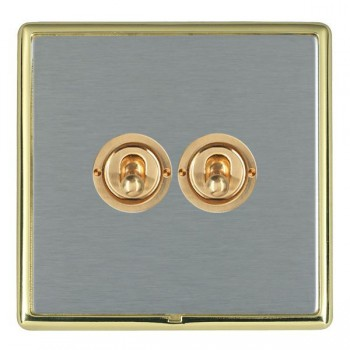 Hamilton Linea-Rondo CFX Polished Brass/Satin Steel 2 Gang 2 Way Dolly with Polished Brass Insert