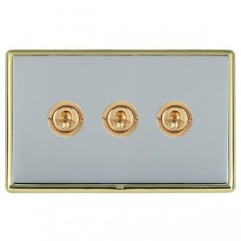 Hamilton Linea-Rondo CFX Polished Brass/Bright Steel 3 Gang 2 Way Dolly with Polished Brass Insert