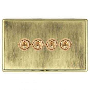 Hamilton Linea-Rondo CFX Polished Brass/Antique Brass 4 Gang 2 Way Dolly with Polished Brass Insert