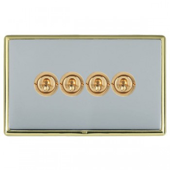Hamilton Linea-Rondo CFX Polished Brass/Bright Steel 4 Gang 2 Way Dolly with Polished Brass Insert
