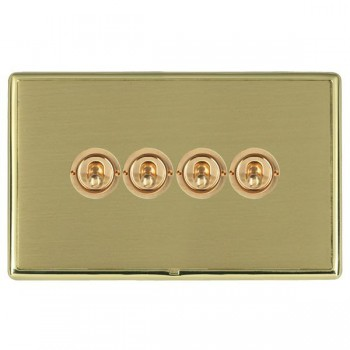 Hamilton Linea-Rondo CFX Polished Brass/Satin Brass 4 Gang 2 Way Dolly with Polished Brass Insert