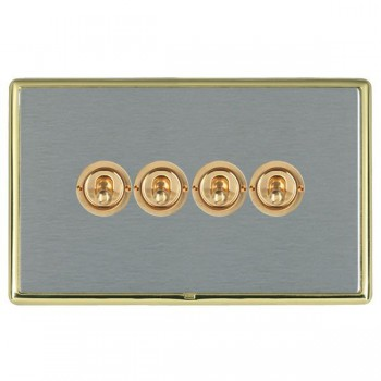 Hamilton Linea-Rondo CFX Polished Brass/Satin Steel 4 Gang 2 Way Dolly with Polished Brass Insert