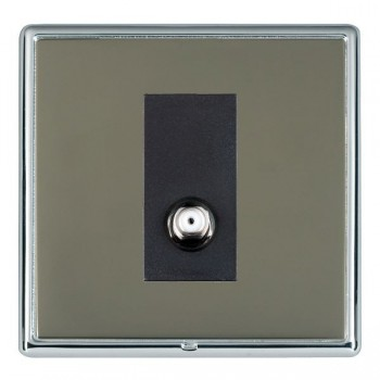 Hamilton Linea-Rondo CFX Bright Chrome/Black Nickel 1 Gang Non Isolated Satellite with Black Insert
