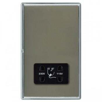 Hamilton Linea-Rondo CFX Bright Chrome/Black Nickel Shaver Socket Dual Voltage with Black Insert
